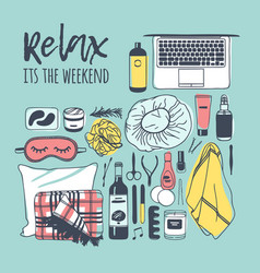 Hand drawn relax set creative ink vector
