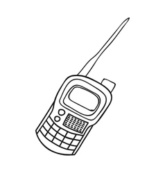 Handheld transceiver icon in outline style vector image