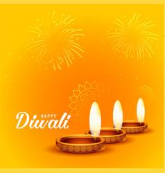 happy diwali fireworks and diya background design vector image