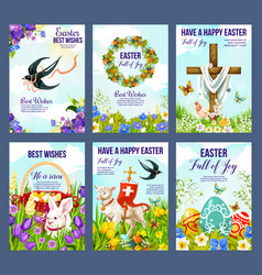 happy easter eggs and crucifix in flowers cards vector image