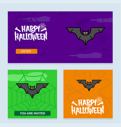 happy halloween invitation design with bats vector image