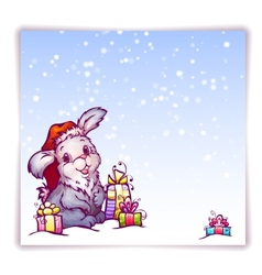 hare in Christmas hat vector image