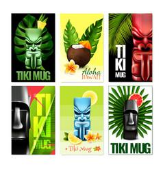 Hawaiian cards set vector