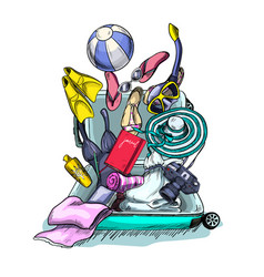 heap different things falling into suitcase vector image