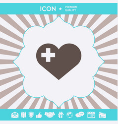 Heart with medical cross graphic elements for vector