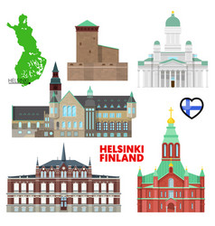 helsinki travel set with architecture vector image