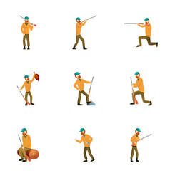 hunter character icon set cartoon style vector image