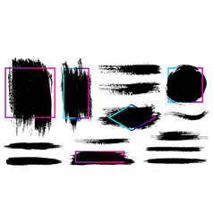ink splash and brush stroke isolated shape vector image