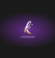 k alphabet letter gold golden logo icon design vector image