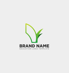 learning book plant leaf tree line logo template vector image