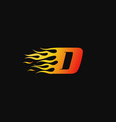 letter d burning flame logo design template vector image