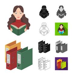 Library and bookstore cartoonblackflat vector