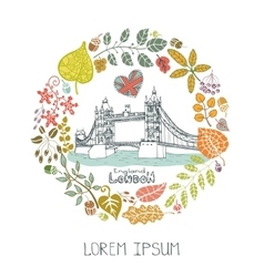London landmarkAutumn leaves wreathTower Bridge vector