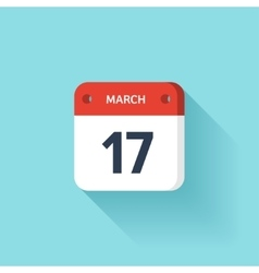 March 17 Isometric Calendar Icon With Shadow vector image
