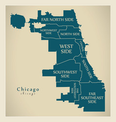 Modern city map - chicago city of the usa with vector