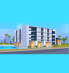Modern hotel office building exterior with large vector