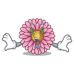 Money eye gerbera flowers in the cartoon shape vector