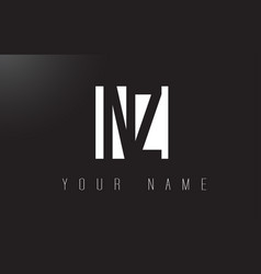 nz letter logo with black and white negative vector image