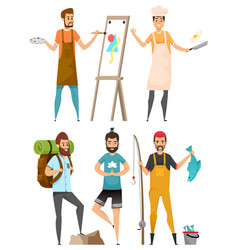 Occupation and hobby men leisure or work vector