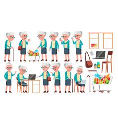 Old woman poses set elderly people senior vector