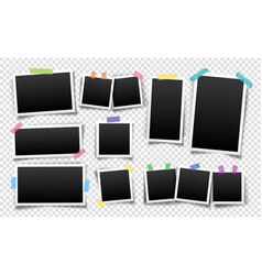 photo frames set fixed with sticky tape vector image