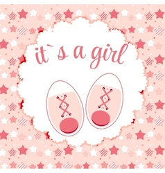 Pink Baby Shoes for Newborn Girl vector image vector image
