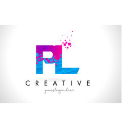 Pl p l letter logo with shattered broken blue vector