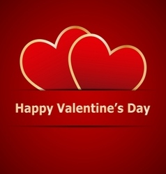 Red hearts on Valentines day card vector image