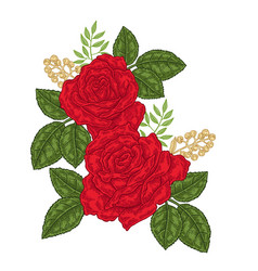 Red roses flowers and leaves in vintage style vector