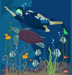 Scuba diving sea life vector