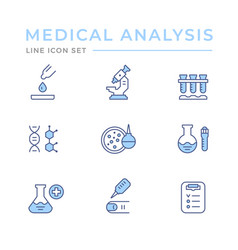 set color line icons medical analysis vector image