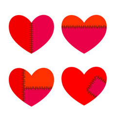 Set hearts with stitches vector