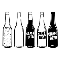 set of bottles of beer or soda vector image