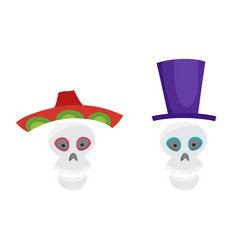 set with colorful skulls for day of the dead vector image
