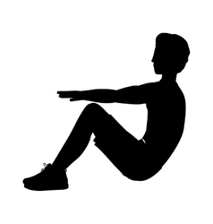 Silhouette man exercise abs collected legs vector
