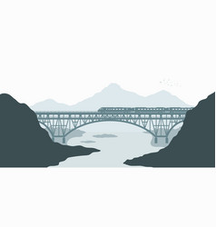 Silhouette scene landscape with railway bridge vector