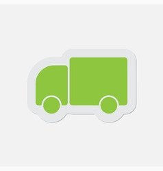 Simple green icon - lorry car vector
