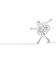 Single continuous line drawing young graceful vector