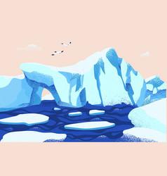 Spectacular arctic or antarctic scenery beautiful vector