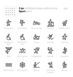 Sport and activity outline icons vector