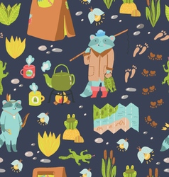 Summer adventure seamless pattern vector image