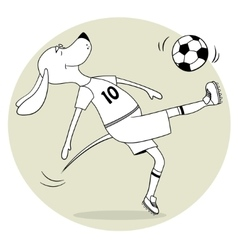 The ridiculous comical dog plays soccer the vector