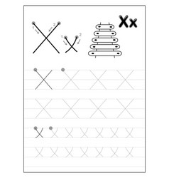 Tracing alphabet letter x black and white vector