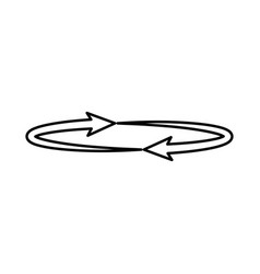 Two arrows on the circle angle 360 black icon vector