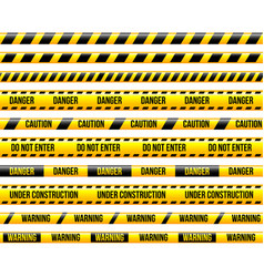 under construction yellow stripes isolated set vector image