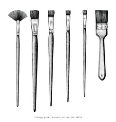 vintage paint brushes set hand drawing clip art vector image