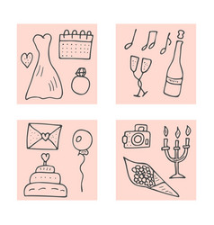 Wedding symbols set design vector