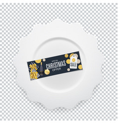 white round plate with christmas gift card on vector image