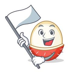 With flag rambutan mascot cartoon style vector