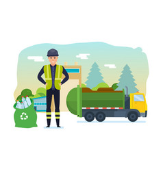 Worker collect garbage in truck take him out city vector